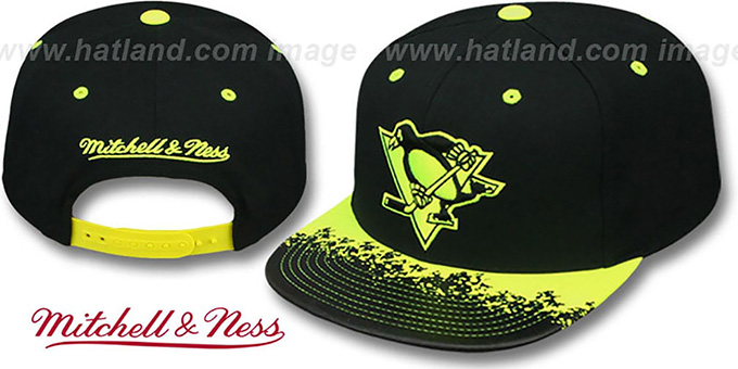 Penguins 'NEON-LAVA SNAPBACK' Black-Yellow Hat by Mitchell and Ness : pictured without stickers that these products are shipped with