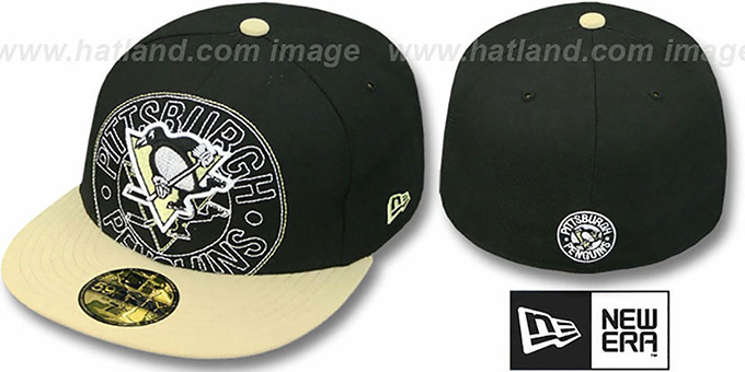Penguins 'NEW MIXIN' Black-Gold Fitted Hat by New Era : pictured without stickers that these products are shipped with