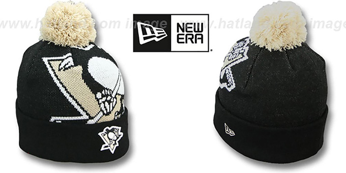 Penguins 'NHL-BIGGIE' Black Knit Beanie Hat by New Era : pictured without stickers that these products are shipped with