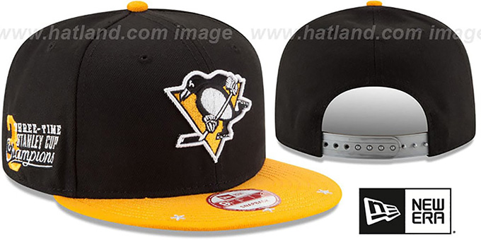 Penguins 'NHL STAR-TRIM SNAPBACK' Black-Gold Hat by New Era : pictured without stickers that these products are shipped with