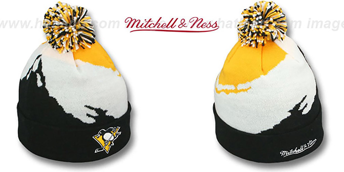 Penguins 'PAINTBRUSH BEANIE' by Mitchell and Ness : pictured without stickers that these products are shipped with