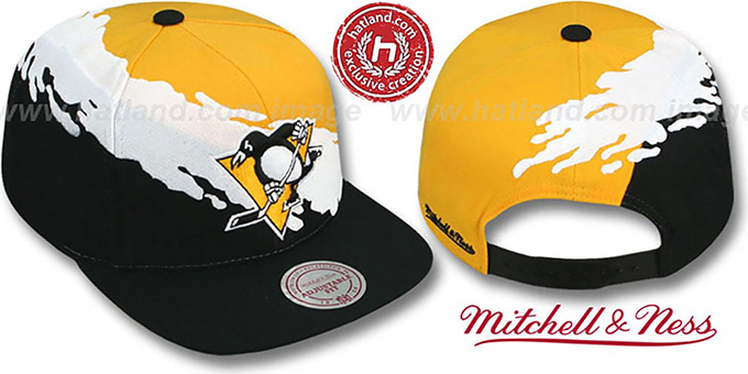 Penguins 'PAINTBRUSH SNAPBACK' Gold-White-Black Hat by Mitchell & Ness : pictured without stickers that these products are shipped with