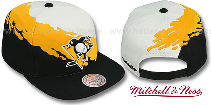 Penguins 'PAINTBRUSH SNAPBACK' White-Gold-Black Hat by Mitchell & Ness : pictured without stickers that these products are shipped with