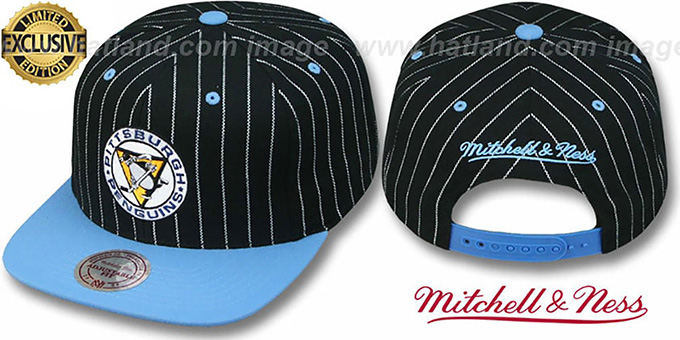 Penguins 'PINSTRIPE 2T TEAM-BASIC SNAPBACK' Black-Sky Adjustable Hat by Mitchell & Ness