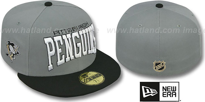 Penguins 'PRO-ARCH' Grey-Black Fitted Hat by New Era : pictured without stickers that these products are shipped with