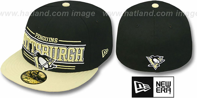 Penguins 'RETRO-SMOOTH' Black-Gold Fitted Hat by New Era : pictured without stickers that these products are shipped with