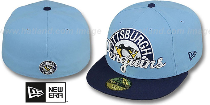 Penguins 'SCRIPT-PUNCH' Sky-Navy Fitted Hat by New Era : pictured without stickers that these products are shipped with