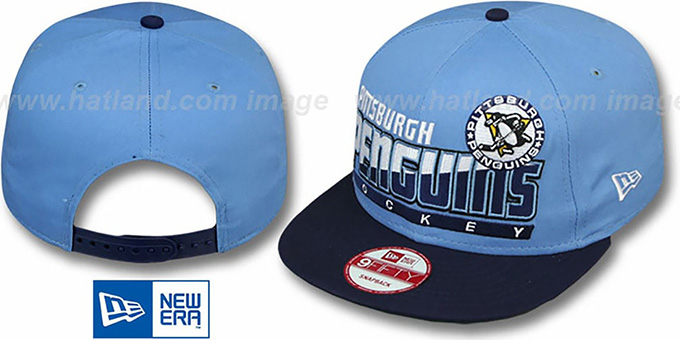 Penguins 'SLICE-N-DICE SNAPBACK' Sky-Navy Hat by New Era : pictured without stickers that these products are shipped with