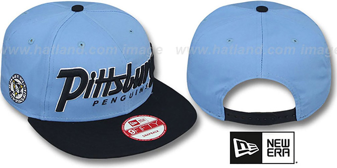 Penguins 'SNAP-IT-BACK SNAPBACK' Sky-Navy Hat by New Era : pictured without stickers that these products are shipped with