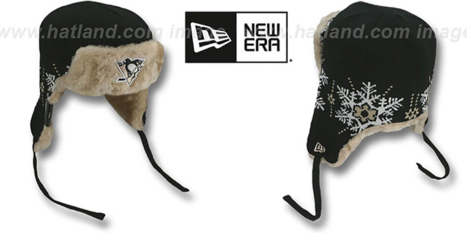 Penguins 'SNOWFLAKE TRAPPER' Black-Gold Knit Hat by New Era : pictured without stickers that these products are shipped with