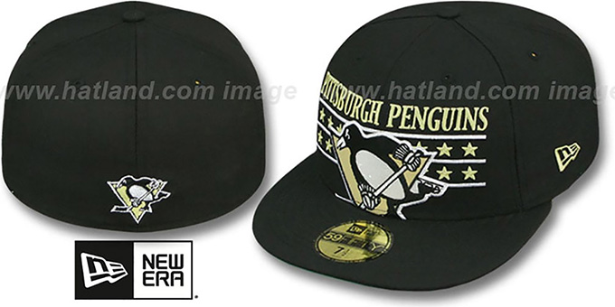Penguins 'STAR STUDDED' Black Fitted Hat by New Era : pictured without stickers that these products are shipped with