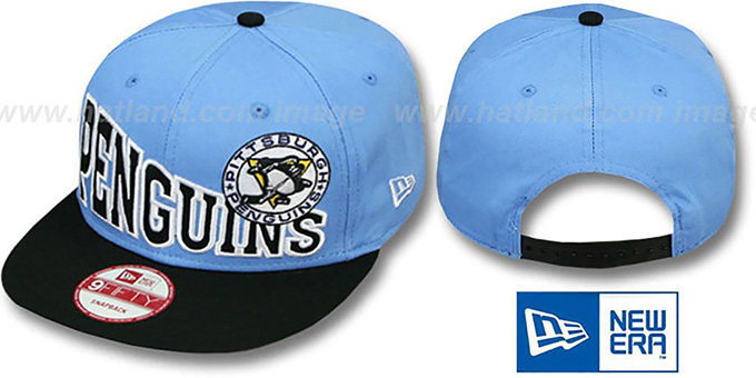Penguins 'STOKED SNAPBACK' Sky-Black Hat by New Era : pictured without stickers that these products are shipped with