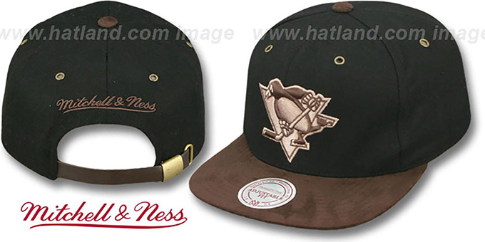Penguins 'TC-BROWN SUEDE STRAPBACK' Hat Mitchell & Ness : pictured without stickers that these products are shipped with
