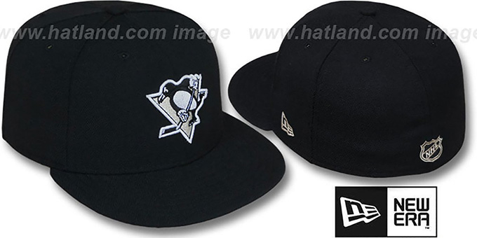 Penguins 'TEAM-BASIC' Black Fitted Hat by New Era : pictured without stickers that these products are shipped with