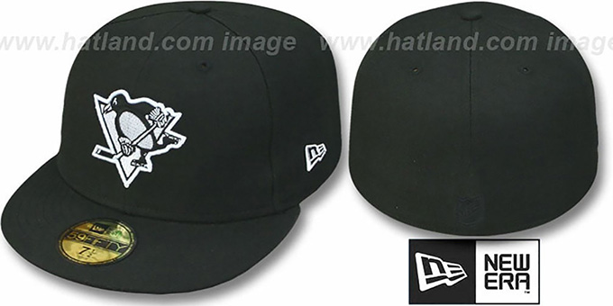 Penguins 'TEAM-BASIC' Black-White Fitted Hat by New Era : pictured without stickers that these products are shipped with