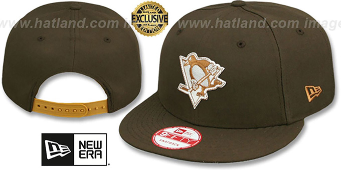 Penguins 'TEAM-BASIC SNAPBACK' Brown-Wheat Hat by New Era : pictured without stickers that these products are shipped with