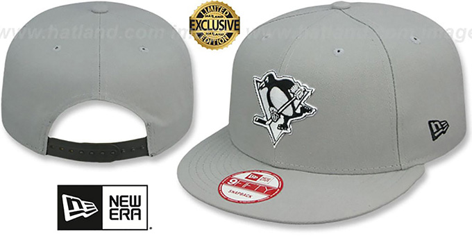 Penguins 'TEAM-BASIC SNAPBACK' Grey-Black Hat by New Era : pictured without stickers that these products are shipped with