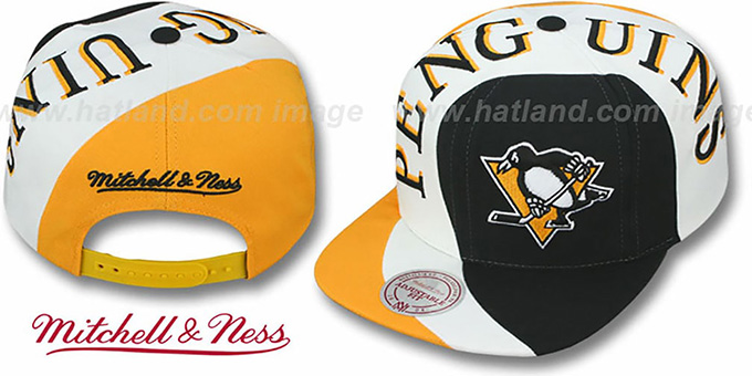 Penguins 'TWIRL SNAPBACK' Hat by Mitchell & Ness : pictured without stickers that these products are shipped with