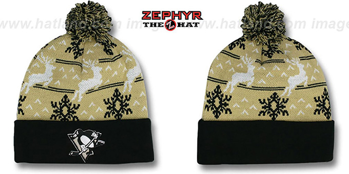 Penguins 'UGLY SWEATER' Black-Gold Knit Beanie Hat by Zephyr : pictured without stickers that these products are shipped with