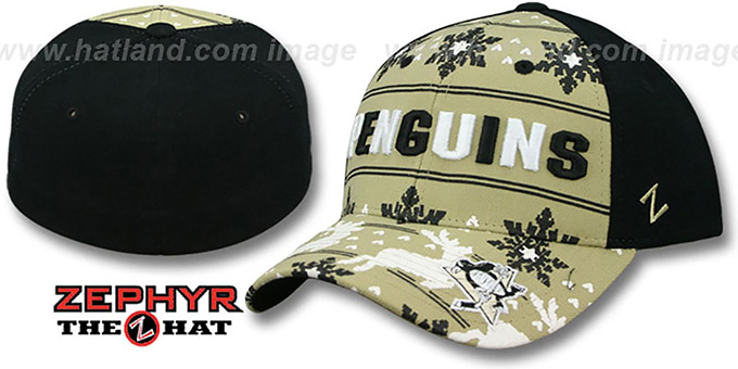 Penguins 'UGLY SWEATER FLEX' Black-Gold Hat by Zephyr : pictured without stickers that these products are shipped with