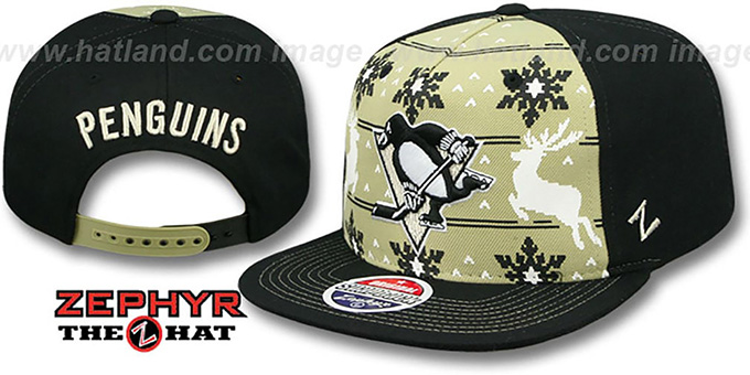 Penguins 'UGLY SWEATER SNAPBACK' Black-Gold Hat by Zephyr : pictured without stickers that these products are shipped with