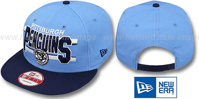 Penguins 'WORDSTRIPE SNAPBACK' Sky-Navy Hat by New Era : pictured without stickers that these products are shipped with