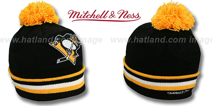 Penguins 'XL-LOGO BEANIE' Black by Mitchell and Ness : pictured without stickers that these products are shipped with