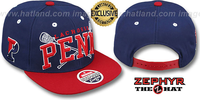 Penn 'LACROSSE SUPER-ARCH SNAPBACK' Navy-Red Hat by Zephyr : pictured without stickers that these products are shipped with