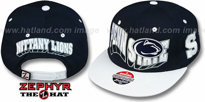 Penn State '2T FLASHBACK SNAPBACK' Navy-White Hat by Zephyr : pictured without stickers that these products are shipped with