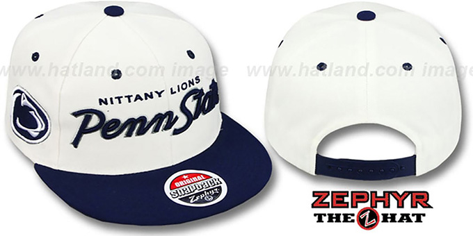 Penn State '2T HEADLINER SNAPBACK' White-Navy Hat by Zephyr : pictured without stickers that these products are shipped with