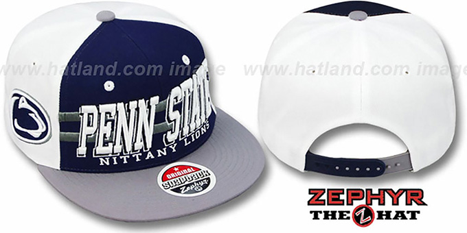 Penn State '2T SUPERSONIC SNAPBACK' Navy-Grey Hat by Zephyr : pictured without stickers that these products are shipped with