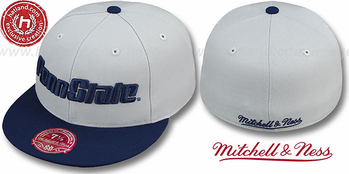 Penn State '2T XL-LOGO' Grey-Navy Fitted Hat by Mitchell & Ness