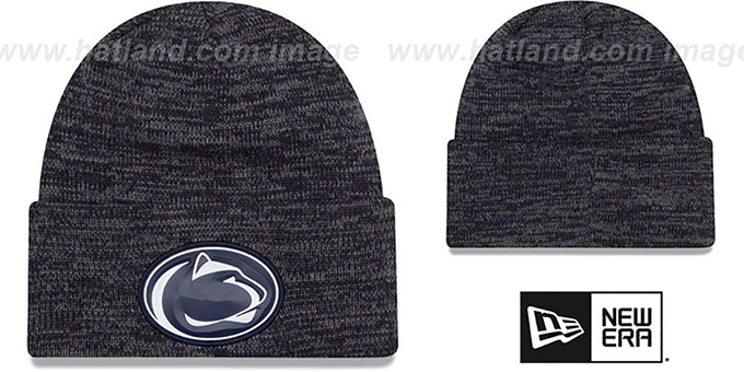 Penn State 'BEVEL' Navy-Grey Knit Beanie Hat by New Era : pictured without stickers that these products are shipped with