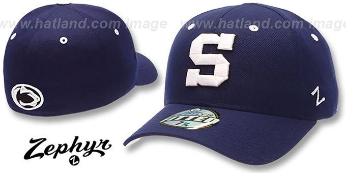 Penn State 'DH' Fitted Hat by Zephyr - navy : pictured without stickers that these products are shipped with