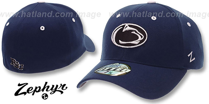 Penn State 'DHS' Fitted Hat by ZEPHYR - navy : pictured without stickers that these products are shipped with