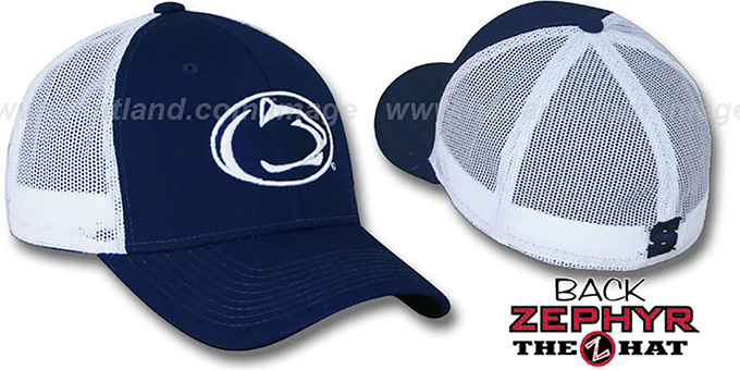 Penn State 'DHS-MESH' Fitted Hat by Zephyr - navy-white : pictured without stickers that these products are shipped with