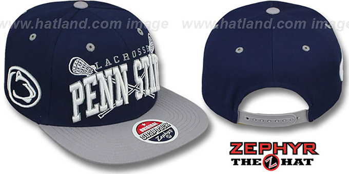 Penn State 'LACROSSE SUPER-ARCH SNAPBACK' Navy-Grey Hat by Zephyr : pictured without stickers that these products are shipped with