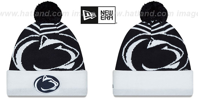 Penn State 'LOGO WHIZ' Navy-White Knit Beanie Hat by New Era : pictured without stickers that these products are shipped with