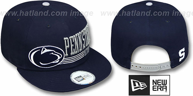 Penn State 'RETRO-SNAPBACK' Navy Hat by New Era : pictured without stickers that these products are shipped with