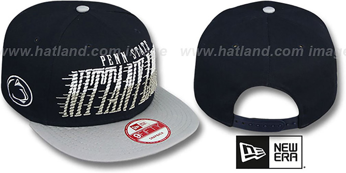 Penn State 'SAILTIP SNAPBACK' Navy-Grey Hat by New Era : pictured without stickers that these products are shipped with