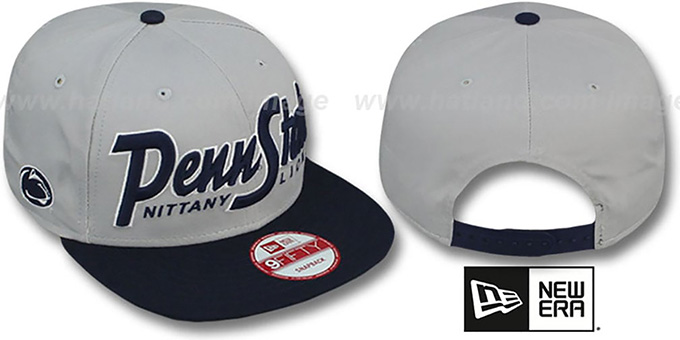 Penn State 'SNAP-IT-BACK SNAPBACK' Grey-Navy Hat by New Era : pictured without stickers that these products are shipped with