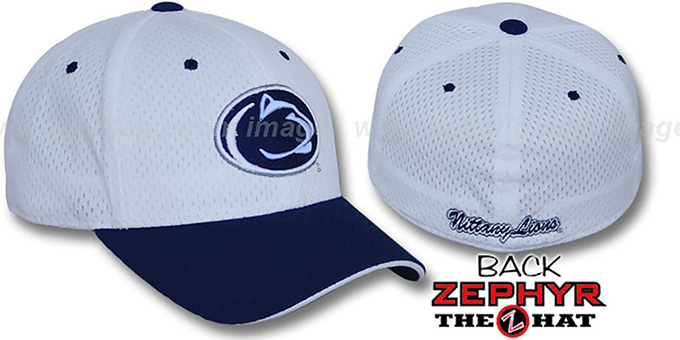 Penn State 'SPLIT BP-MESH' White-Navy Fitted Hat by Zephyr : pictured without stickers that these products are shipped with