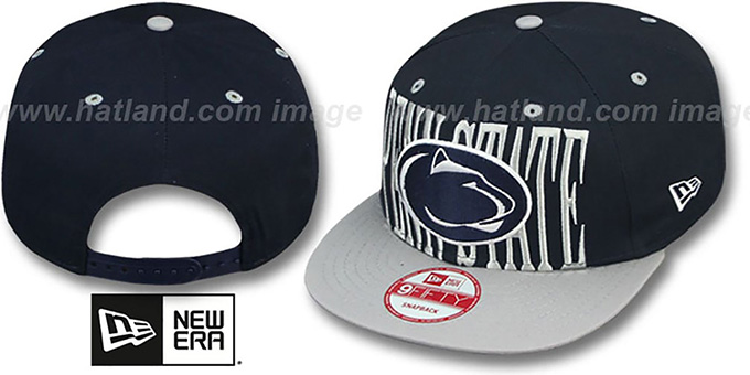 Penn State 'STEP-ABOVE SNAPBACK' Navy-Grey Hat by New Era : pictured without stickers that these products are shipped with