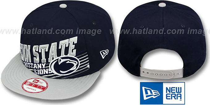 Penn State 'STILL ANGLIN SNAPBACK' Navy-Grey Hat by New Era : pictured without stickers that these products are shipped with
