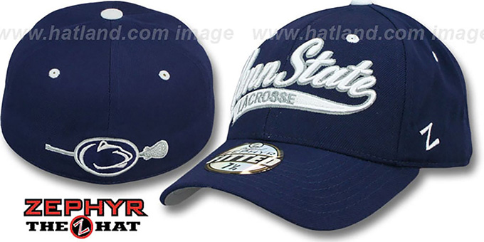 Penn State 'SWOOP LACROSSE' Navy Fitted Hat by Zephyr : pictured without stickers that these products are shipped with
