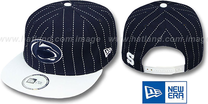 Penn State 'TEAM-BASIC PINSTRIPE SNAPBACK' Navy-White Hat by New Era : pictured without stickers that these products are shipped with