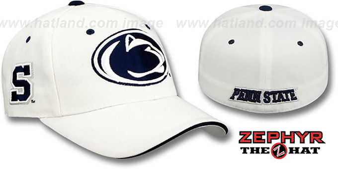 Penn State 'TRIPLE THREAT' White Fitted Hat by Zephyr : pictured without stickers that these products are shipped with