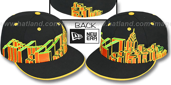 Philadelphia 'PHI BLOCK CITY-SKYLINE' Rasta Fitted Hat by New Era : pictured without stickers that these products are shipped with