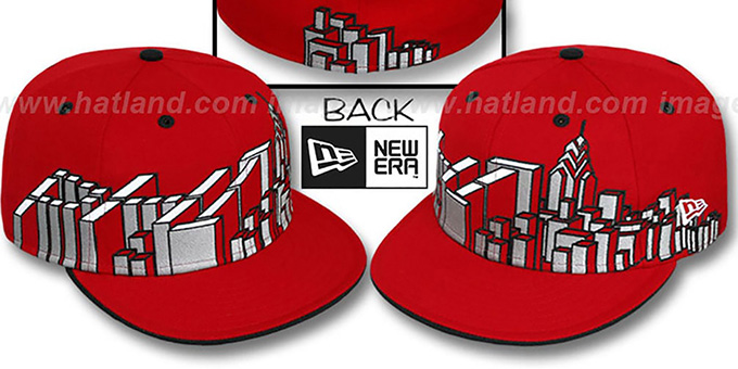 Philadelphia 'PHI BLOCK CITY-SKYLINE' Red Fitted Hat by New Era : pictured without stickers that these products are shipped with