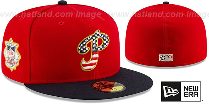 hot sale online 95a90 e5e78 Phillies  2019 JULY 4TH STARS N STRIPES  Fitted Hat by New Era